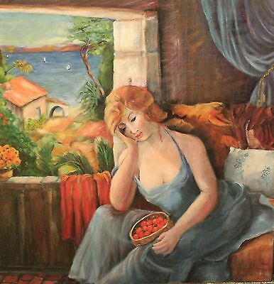 """Original Oil Painting Signed Mireille Ripley """"Dreaming"""" French Female Portrait"""