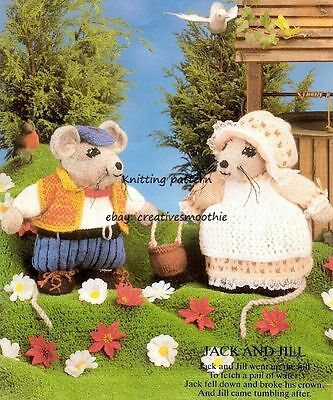 (412) Adorable Jack and Jill Mice, Vintage DK Toy Knitting Pattern