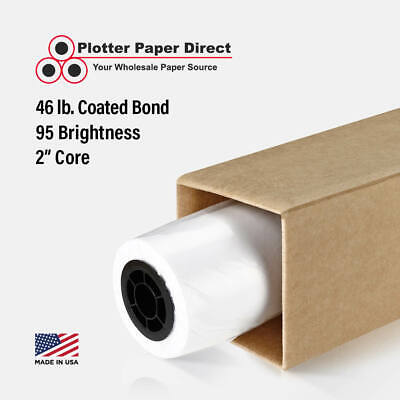 "1 Roll 44"" x 100' 46lb Coated Bond Paper for Wide Format Inkjet Printers"