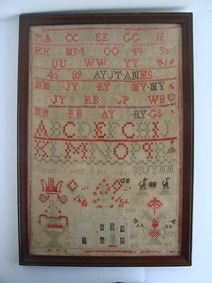 ANTIQUE New England Schoolgirl SAMPLER c. 1818? Marion Young AAFA