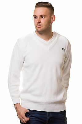 Men's Bowling Golf White Jumpers Sweaters Tops  Bowl Logo Size S to 5XL