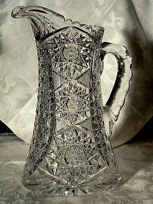 """abp American brilliant cut glass water pitcher, hobstars, 11"""""""