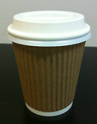 100set  8 oz Kraft Triple Ripple wall disposable paper coffee cups and lids
