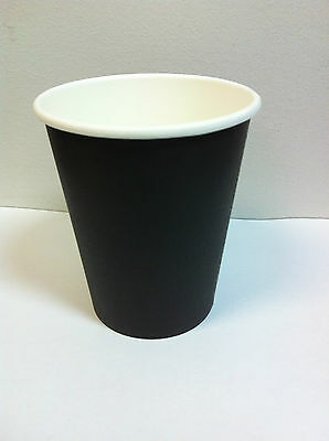 100set 12 oz Black Single wall disposable paper coffee cups & lids