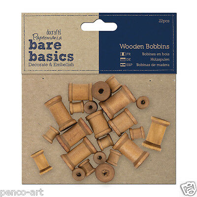 Docrafts Papermania wood craft embellishments Bare basics mini wooden bobbins