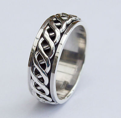 Mens Heavy 925 Sterling Silver 8mm British Hallmarked Celtic Spinner Ring  Band