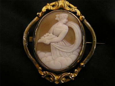 Beautiful Victorian Pinchbeck Scenic Lady/Angel In Clouds Swivel Cameo Brooch