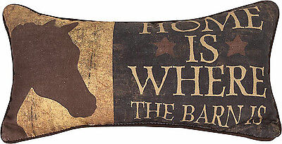 "Decorative Pillows - ""home Is Where The Barn Is"" Horse Pillow - Equestrian Decor"