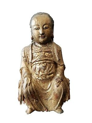 Antique Chinese Carved Wood Lacquer Gold Gilt Female Official Statue