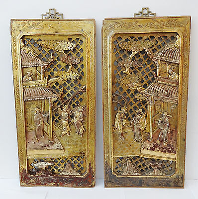 19th-C. Chinese Giltwood Panels, Pair