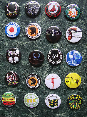 SKINHEAD COLLECTION 20 x 25mm BUTTON BADGES SET 4 REGGAE SKA SCOOTER TROJAN SKIN