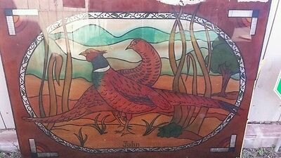 Antique/vintage Stain Glass Window.  Dove, rooster, birds.  Ring-necked Pheasant