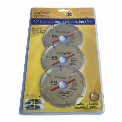 "3 x 115mm Diamond Discs Cutting Blade 4.5"" Angle Grinder, Brick Stone & Concrete"