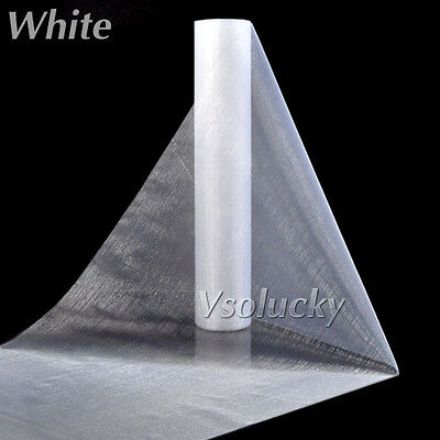 White 25M Roll of Crystal Organza Sheer Fabric Wedding Table Runner Chair Sashes
