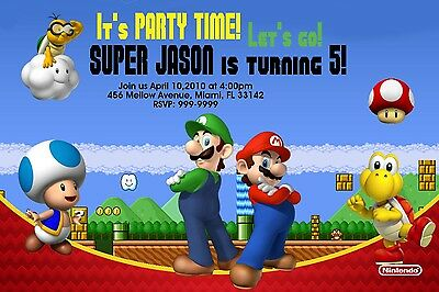 Super Mario Brothers Birthday Invitation 24hr Service UPRINT 4x6 or 5x7