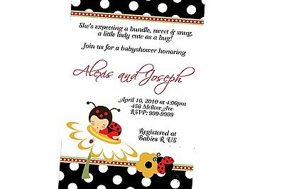 Ladybug Baby Shower Invitation 24hr Service UPRINT 4x6 or 5x7