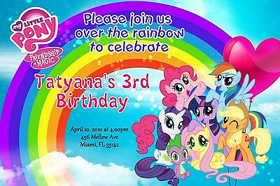 My Little Pony Birthday Invitation 24hr Service UPRINT