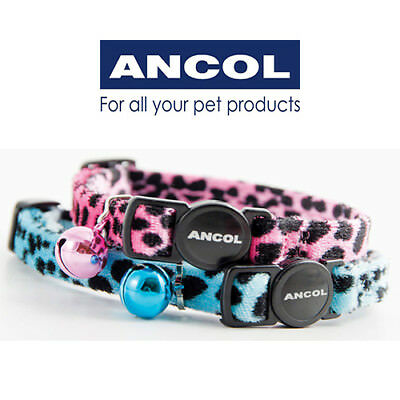 NEW Ancol Soft Velvet Leopard Cat Collar Safety Buckle in Turquoise or Pink