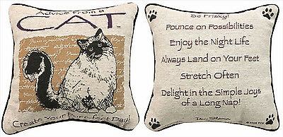 Decorative Pillows - Advice From A Cat Pillow - Reversible Tapestry Pillow