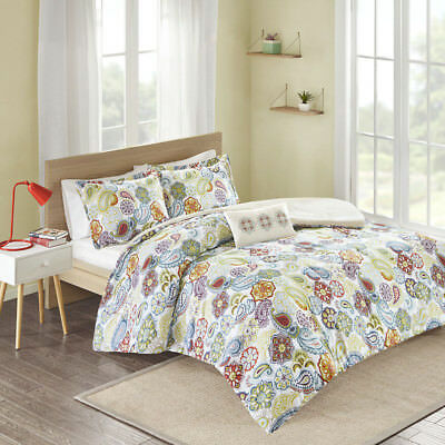 Beautiful Modern Chic Ivory Blue Aqua Teal Green Purple Bohemian Comforter Set
