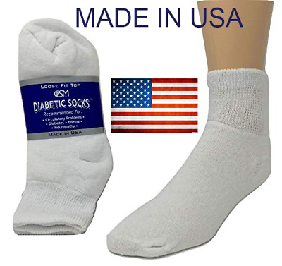 BEST QUALITY 12 pair of mens white diabetic ankle socks 13-15 KING SIZE MADE USA