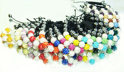 Free shipping 10mm Czech Crystal Shamballa Bracelet Disco Clay Ball Adjustable
