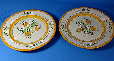 Lot  2 Vintage Stangl Yellow TulipTerra Rose  Salad Plates  8.25""