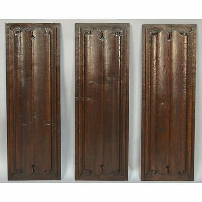 Stunning Set of 3 17th C. French Carved Oak Gothic style Linenfold Panels
