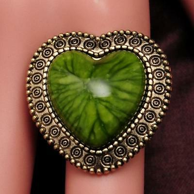 Hot Sell antique bronze Imitation of turquoise Red Heart ring For gift Size 8.5