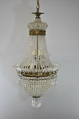 Antique French Style Crystal Chandelier Light Fixture with Bronze Mounts