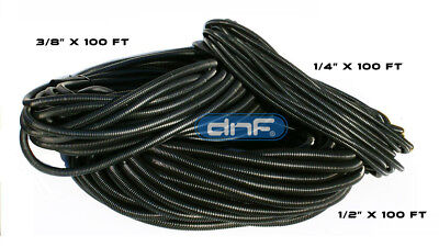 """100 Ft Each Size 1/4"""" 3/8"""" 1/2"""" New Split Loom Polyethylene Wire Tubing Cable"""