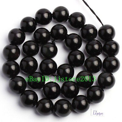 """12mm Smooth Natural Black Obsidian Round Shape Gemstone Loose Beads Strand 15"""""""