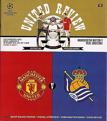 MANCHESTER UNITED v REAL SOCIEDAD Champions League 2013/14 MINT