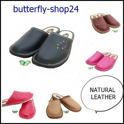 Womens Ladies Natural Leather Slippers Mules  Multi Color  Size 3/4/5/6/6.5/7