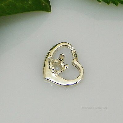 3mm Round Weeping Heart Sterling Silver Pendant Setting  (Casting - Mount)