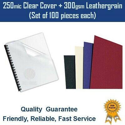 100 sets of 250mic binding clear cover +300gsm leathergrain cover