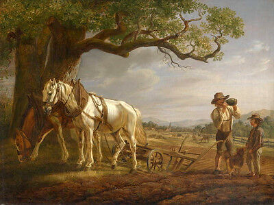 Stunning Oil painting male portrait farmers Arable with horses under the trees
