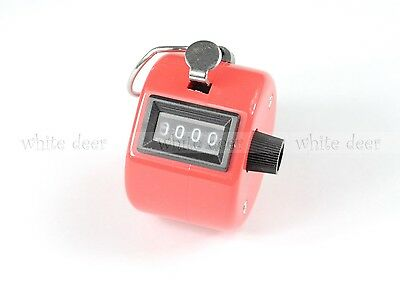 4 Digit Number Dual Clicker Golf Hand Tally Counter Red Handy Convenient