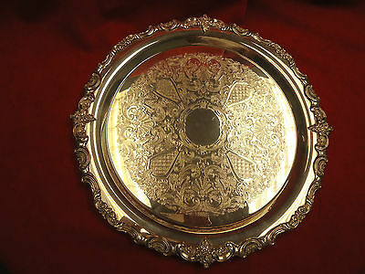 """Towle Silverplate Round Tray Baroque Style with Fancy Design in Center 15"""""""