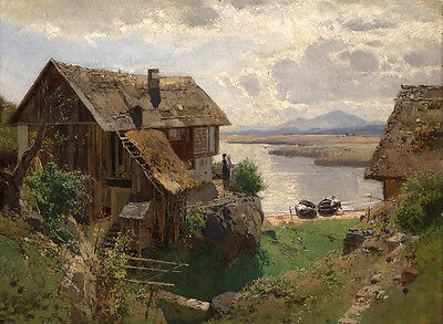 Nice Oil painting house in landscape by the river in the morning