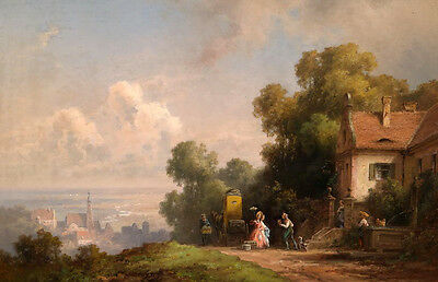 Art Oil painting carriage before farmer's house in sunset landscape very nice