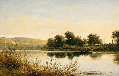 Beautiful art Oil painting Streatley on Thames nice landscape & canoe on river