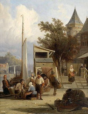 """Stunning Oil painting farmers by the river with church village in landscape 36"""""""