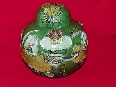 1850-1899 Porcelain Green Chinese Ginger Jar Perfect Condition Raised Design
