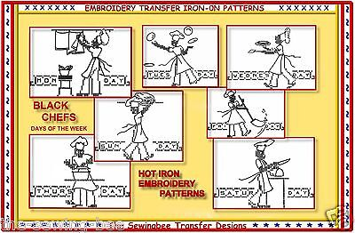 48e071121fdd0b VINTAGE CHEFS EMBROIDERY Pattern ~ 6 designs of Chefs in the Kitchen ...