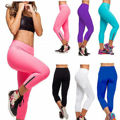 New Woman Candy Colored Tight YOGA Pants Cropped Sporting Pants Leggings Fitness