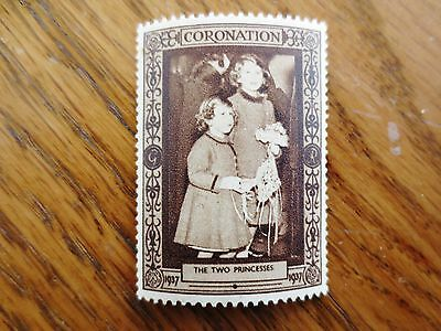 1937 Coronation King George VI Sticker Two Princess Margaret Elizabeth Royalty