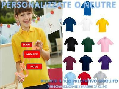 Polo Bambino Manica Corta Fruit Of The Loom  T-Shirt Bambino Personalizzabile