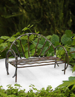 Miniature Dollhouse ~ FAIRY GARDEN Furniture ~ Rustic Antiqued Metal Vine Bench