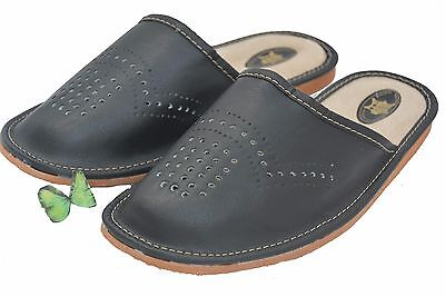 Mens Slipper Shoes Mule 100% Natural Leather Hand Made Black Multicolor Size6-13